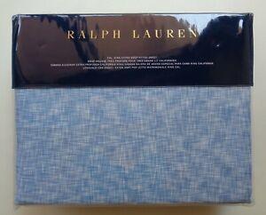 Ralph Lauren Veronique Lillie Blue 100% Cotton Cal. King Extra Deep Fitted Sheet