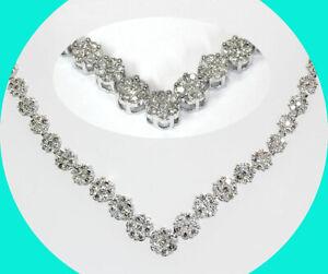 "3.00CT diamond cluster V style necklace 14K WG floral 20.2 GM 17"""