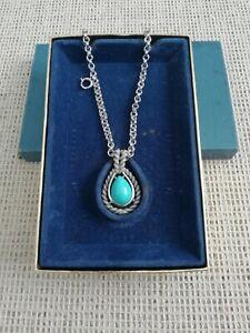 Vintage Avon Silver Tone Double Strand Faux Turquoise Pendant Long Necklace