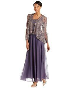 PATRA Women's Petite Gold Metallic Dress and Jacket Set, Plum/Gold NWT 12P