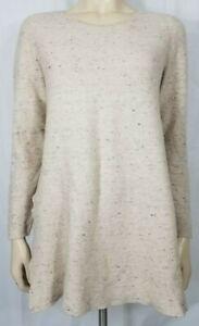 Eileen Fisher beige gray heathered cotton blend pullover sweater ladies Medium