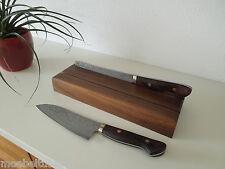 Design Messerhalter Messerblock Block Nussbaum Massiv Holz für Messer NEU