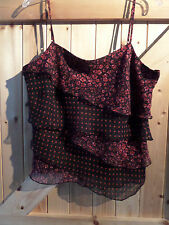 "Lovely Frilled Top Black & Red Size 18 By Marks & Spencer Chest 44"" - 46"" Max"