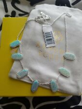 Kendra Scott Bright Silver Meadow Choker Bib Necklace in MINT Kyocera Opal