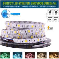 5M RGBWW / RGB CCT LED Streifen - IP20 IP65 12V 24V Lichtband SMD5050 dimmbar 3M