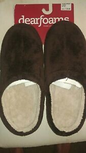 NWT - DEARFOAMS Mens Brown Plush Slip On Slippers, Indoor/Outdoor Soles L 11/12