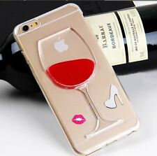 For iPhone 6 / 6S - Soft TPU Rubber Skin Case Red Wine Glass Alcohol w/ Liquid
