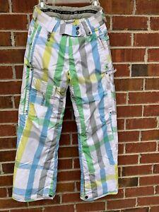 686 Women's Cargo Snowboard ski winter insulated pants size xs small white plaid
