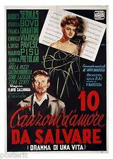 manifesto 2F film 10 CANZONI D'AMORE DA SALVARE Brunella Bovo Jacques Sernas