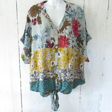 NWT Umgee Plus XL Short Sleeve Floral Embroidered Front /& Back Top Crochet Trim