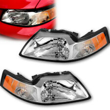For 1999-2004 Ford Mustang Cobra Chrome Crystal Headlights