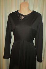 VINTAGE 70'S does 50'S ~ SILVER STAR ~ Black DRESS * Size 12/14 *