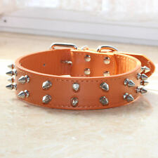 7 Colors 2 Rows Spiked Studded Leather Dog Collar Medium Large Pitbull Terrier