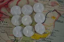 VINTAGE 1940s set of 9 white clover shamrock buttons plastic celluloid flower