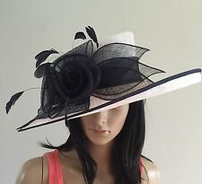 NIGEL RAYMENT WHITE AND NAVY WEDDING ASCOT HAT OCCASION MOTHER OF THE BRIDE