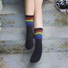Ladies Black Rainbow Striped Ankle Socks One Size Casual Sport - LS0046