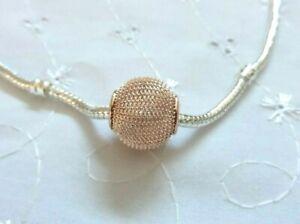Lovely Rose Gold Plated Mesh Spacer Bead for European Charm Bracelet