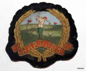 vintage Harrods UK Golf club    United Kingdom spun gold hat visor cap