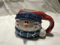 Snowman Holiday Ceramic Coffee Cup/Mug with Scarf Hand Painted Used Great Cond.