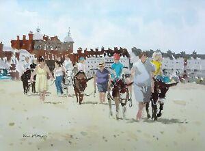 708 Donkey Riders at Weymouth - Beach Seaside Watercolour Ken Hayes