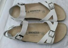BIRKENSTOCK WHITE LEATHER MAYARI WITH ANKLE EXTENSION UK 7.5, EUR 41 NARROW