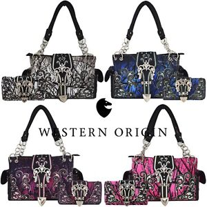Camouflage Buckle Western Concealed Carry Purse Women Country Handbag Wallet Set