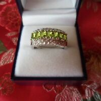 Vintage Jewellery Gold Ring with Peridot White Sapphires Antique Deco Jewelry 7