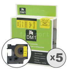 """5pk Black on Yellow Tape Label Compatible for DYMO 45808 D1 19mm 3/4"""""""