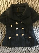 Black Miss Posh Short Sleeve Jacket With Hood In Collar Size 10