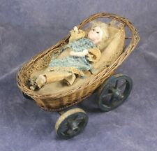 Antique Kicking Baby in Basket Pull Toy or Automaton - Wax over Papier-Mache