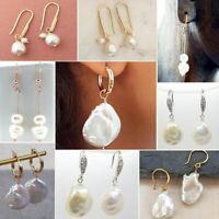 Women Bohemian Boho Colorful Baroque Pearl Beads Dangle Stud Earrings Classic