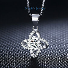 Elegant 18K White Gold Plated Four Leaf Clover Necklace Pendant Chain 147