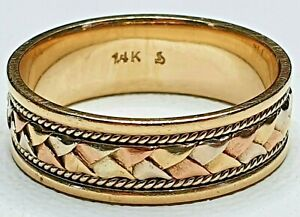 Mens Braided Rope Tri Color 14K Yellow Gold 9.58g Band Ring 13.5US NOT SCRAP