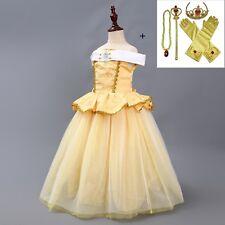 New Girls Beauty and the Beast Dress kids Princess Belle Dress UP Set O56