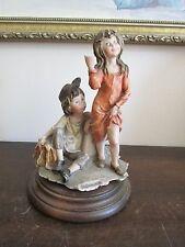 G. Armani Capodimonte Italy Porcelain Figurine Girl And Boy Signed Wood Base