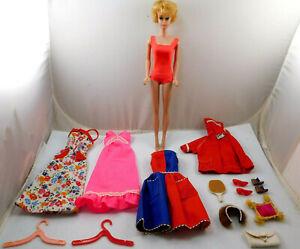 VINTAGE 1960's MATTEL BUBBLECUT BARBIE DOLL WITH CLOTHES SHOES ACCESSORIES