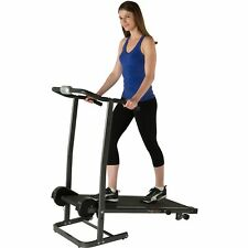 Manual Treadmill Fitness Workout Gym Exercise 2 Level Incline and Twin Flywheels