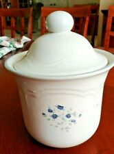 Vintage Pfaltzgraff Canister with Lid-Glossy Blue Rose 1 1/2 qt,  USA 1980's