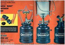 PUBLICITE ADVERTISING 105  1959   CAMPING GAZ   BLEUET (2p) SOUDOGAZ LUMOGAZ