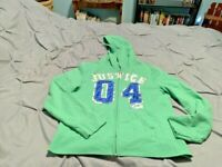 JUSTICE Girl's Green Full Zip Up Hoodie. Size 14   USA FREE SHIPPING!