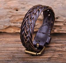 Leather Buckle Bracelet Mens or Women's Brown Leather Adjustable Braclet  JLA-24