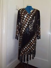 Glamorous excellent vintage cond black, silver, gold/taupe sequin dress size M