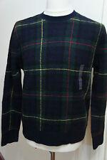 Ralph Lauren Classic Navy Check A quadri Lana Maglione Taglia Small RP £ 850