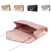fc3d617615 Ladies Evening Diamante PU Clutch Bag Party Prom Envelope Handbag Shoulder  Bags