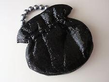 NWT $325 WHITING & DAVIS BLACK Mesh Grey Pearl Handle Handbag Clutch Purse