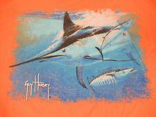 Guy Harvey - Bolsillo Camiseta - Marlin Gráfico - XL - Naranja Camiseta C1852