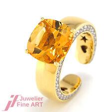 Al Coro Ring 18K WG Citrin & Diamantbesatz 0,44 ct 10,8 g - Gr. 54 - UVP 2999,-