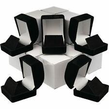 12 Pcs Earring Gift Boxes Black, Velvet Flocked Jewelry Box