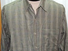 Men's MED Jhane Barnes Storm Long Sleeve Shirt 100% Cotton Green Gold Silver