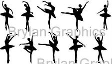 12 cm Matt vinyl set of 10 dancing ballerinas wall art  home - Choose colour